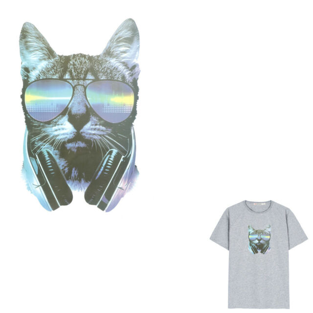 Music Cat Iron on Patches Washable Heat Transfer Stickers T-shirt Appliques Pip