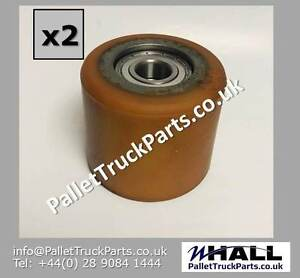 x2no. ORANGE PU \ steel core D85 x 75mm hand pallet load rollers -D20mm bearings