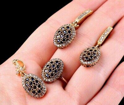 Turkish Handmade Jewelry 925 Sterling Silver Multi Stone Ladies/' Earring Set