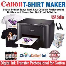 CANON PRINTER + BULK HEAT TRANSFER INK COTTON T-SHIRT MAKER MORE STARTER  .
