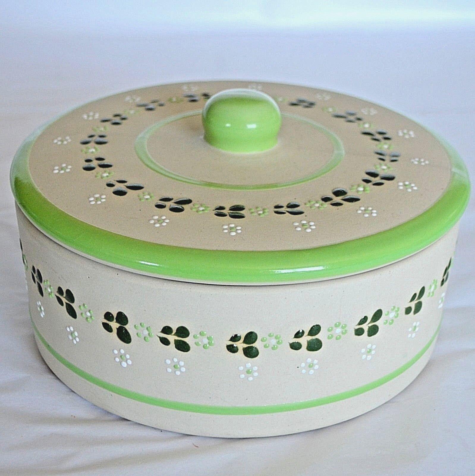 MEXICAIN POTERIE Tortilla Warmer Ceramic Serving Dish & Couvercle Pot Bol Vert Floral