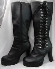 KNEE-HIGH HEEL PLATFORM BOOTS 10 Black TUK Side Zip and Lace-up 32-eye Punk Goth