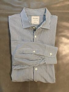 Billy-Reid-Mens-White-Blue-Striped-Dress-Shirt-Standard-Cut-Large-16-41-35-195