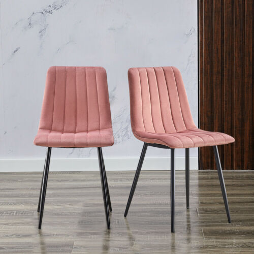 2/4/6 Modern Dining Chairs Velvet Padded Seat Metal Legs Dining Room Chair Set Grey,Pink,Blue