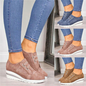 Women-Breathable-Slip-On-Trainers-Loafers-Ladies-Wedge-Heel-Sneakers-Comfy-Shoes
