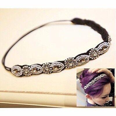 Women Retro Beads Hair Band Rhinestone Crystal Headband Head Rope Chain Jewelry