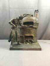 """AntQ Figural Bronzed """"Le Boulanger"""" Rousseau Paris France Mantel Desk Lamp"""