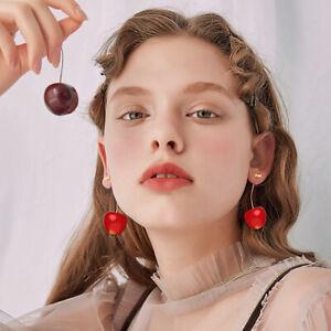 Le-Donne-Carino-resina-rotonda-Red-Cherry-Frutta-Goccia-Dangle-Earrings-gioielli-regalo-festa
