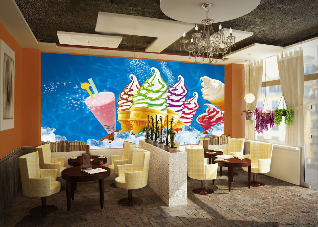 3D Ice Cream Dessert Wall Paper wall Print Decal Wall Deco Indoor wall Mural