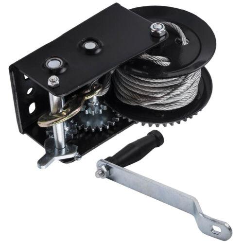 Dual Gear Hand Winch Hand Crank Manual For Boat ATV RV Trailer 33ft 3500lbs x1