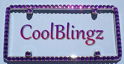 Screw Caps BIG AMETHYST PURPLE Rhinestone Crystal Bling License Plate Frame