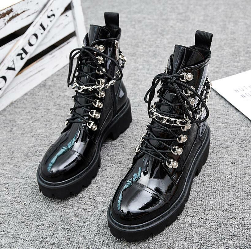 Womens Winter Warm Chain Punk Biker Army Combat Ankle Boots Chunky Flat shoes