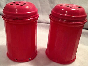 Vintage Genco Red Salt And Pepper Shakers 8 Made In The Usa Ebay