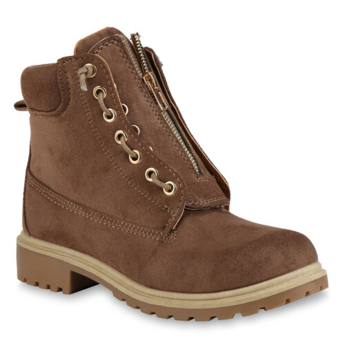Damen Worker Boots Modische Outdoor Stiefeletten Profilsohle 818768 Schuhe