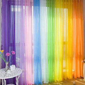 Colorido-Floral-Tul-Gasa-Puerta-Ventana-Cortina-Panel-Fino-Bufanda-Cenefas