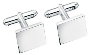 Elements 14.5mm 925 Polished Sterling Silver Plain Flat Edge Square Cufflinks