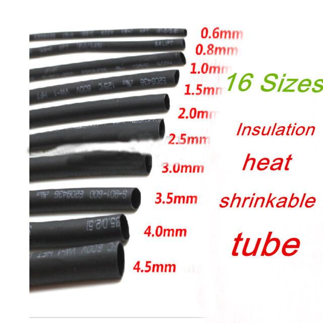 Black Heat Shrink Tube Shrinkable Sleeve Shrink Wrap diameter 0.6mm-12mm 1m long