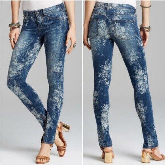 Free People Elle Floral Skinny Zip Moto Jeans Size 26