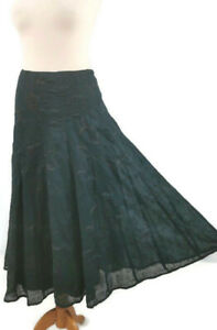 Monsoon-Size-16-Teal-Blue-Green-Embroidered-Lined-Midi-Skirt-Boho-New-BNWT-65