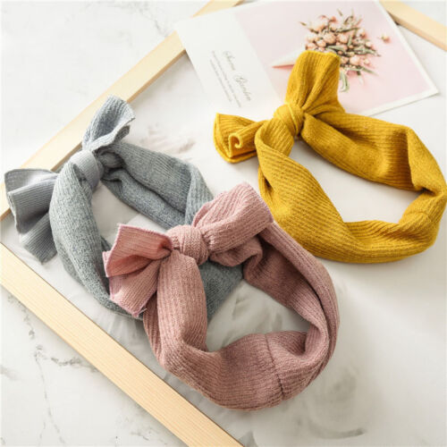 5Pcs grils Headbands baby Knitted Bow Hairbands Winter Warmer Crochet Headwear