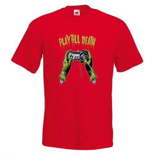 Play Till Death Mens PRINTED T-SHIRT Zombie Hands Gamer Game Controller Funny