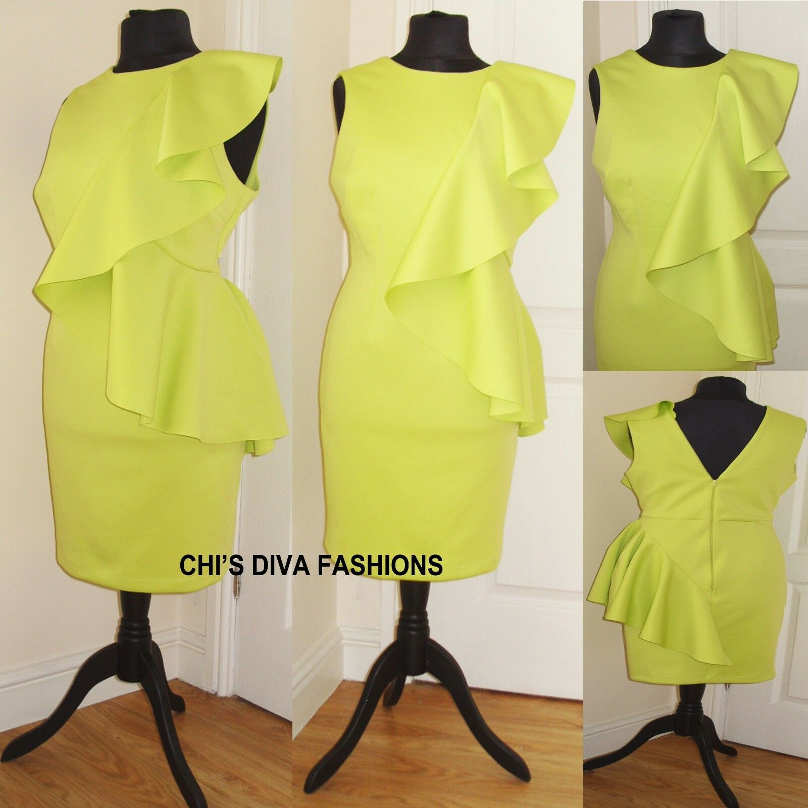 EX ASOS CURVE EXCLUSIVE NEW SEASON Scuba Ruffle Side Dress Sizes