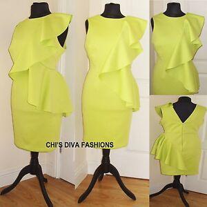 d3f419aa296 EX ASOS CURVE EXCLUSIVE NEW SEASON Scuba Ruffle Side Dress Sizes UK ...