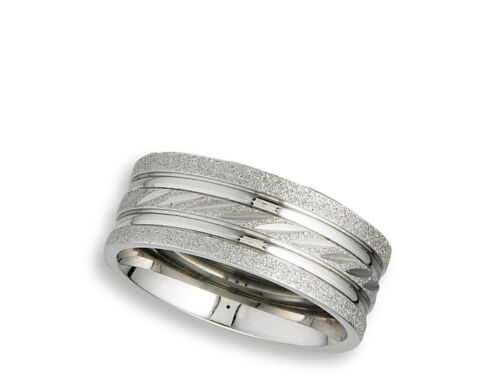 Diamond-Cut Sparkle Groove Wedding Ring New Stainless Steel Wide Band Sizes 6-10