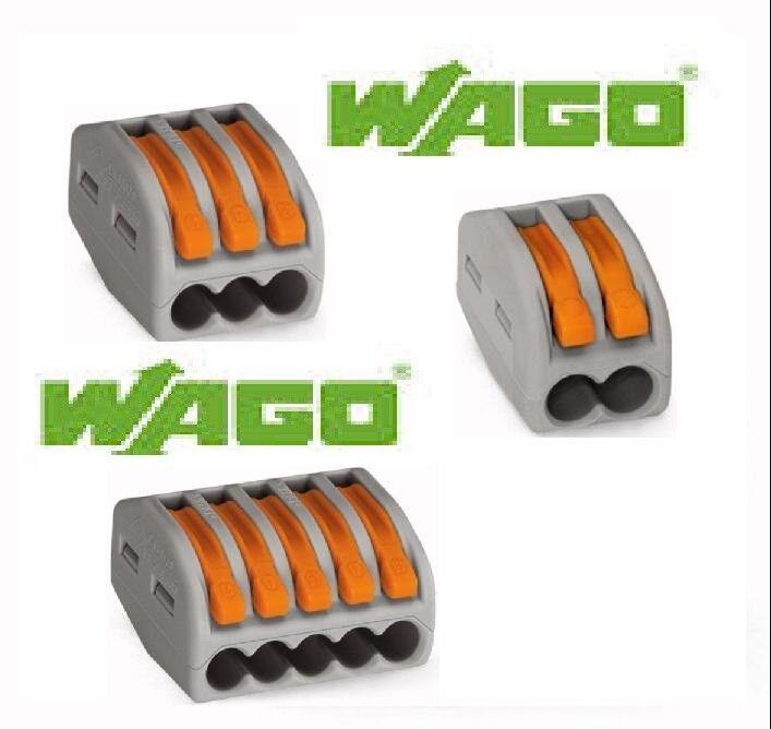 Bornes de connexion 2-3-5 entrées fil souple rigide Wago série 222 lot 60Pcs