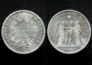 5-FRANCS-1874-K-FRANCE-Bordeaux-Hercule-argent-silver