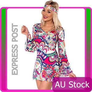 Ladies-60s-70s-Retro-Hippie-Go-Go-Girl-Disco-Costume-Fancy-Dress-Hen-Xmas-Party