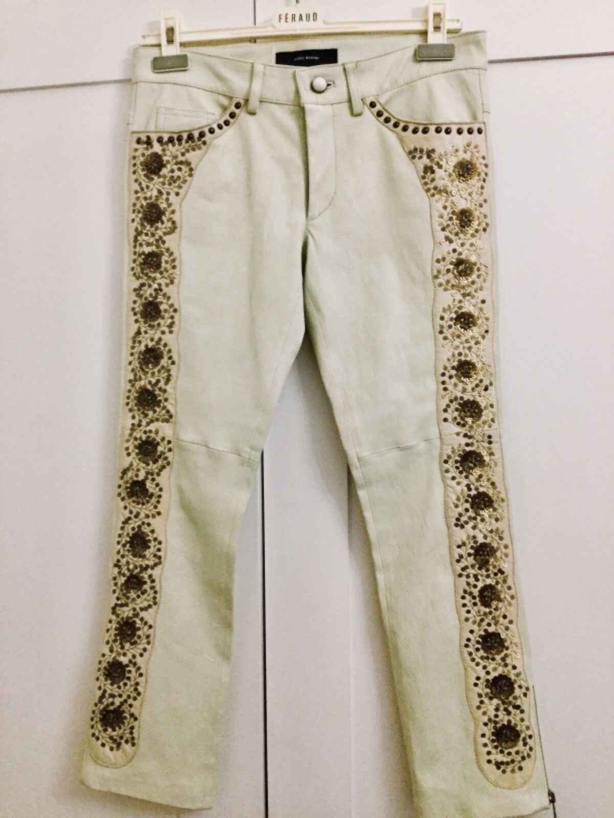 Isabel Marant Leather Cropped Pants Jeans with Sequin and Studs EmbroiderUK10