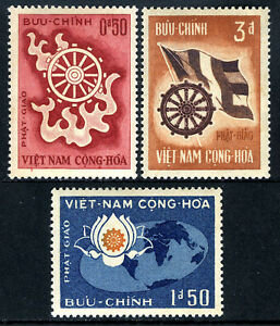 Viet Nam South 255-257,MNH.Buddha's birth, ann.Wheel of Life,Buddhist Flag,1965