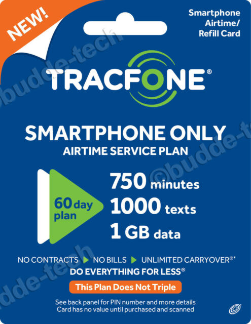 TracFone Smart phone Plan - 60 Days/750 Minutes/1000 Texts/1GB Data Android  Cell