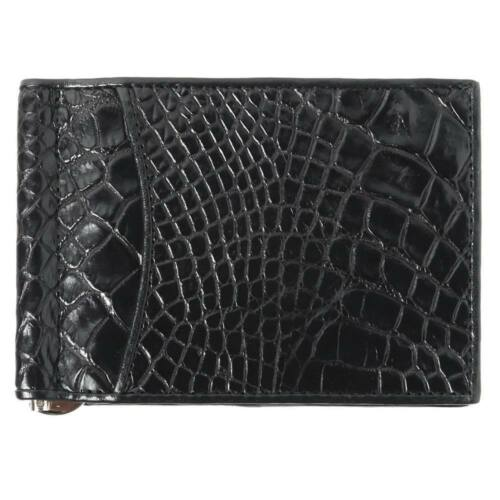 Genuine Crocodile Skin Leather Kanthima Belly Man Money Clip ID Card Bag Black