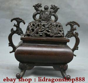 6-6-pouces-Xuande-marque-ancien-bronze-chinois-2-Bruleur-d-039-encens-Dragon-Ball