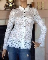 Vertigo Collection Women White Lace Button Up Shirt Size S