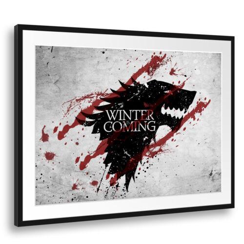 Wandbild Game of Thrones Winter is coming Stark grauer Hintergrund