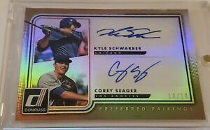 2016 Panini Donruss Corey Seager/ Kyle Schwarber Auto #10/10 Dodgers Nationals