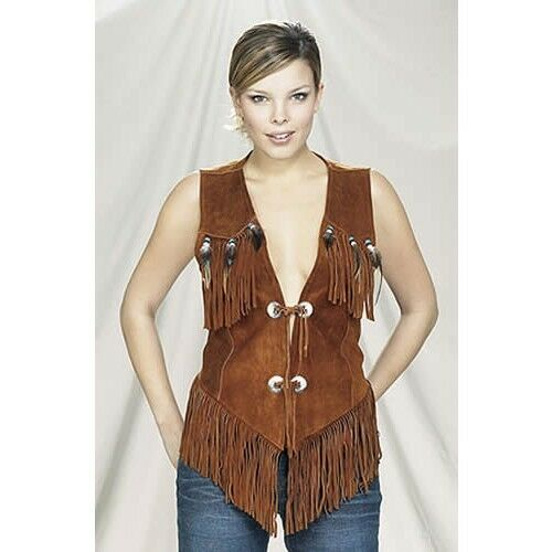 Women Western Vest with Fringe and Beads
