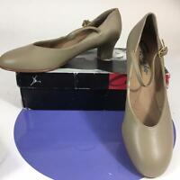 Capezio 551 Lea Tan Dance Tap Character Shoes 1-1/2 Heel Jr Footlight Leather