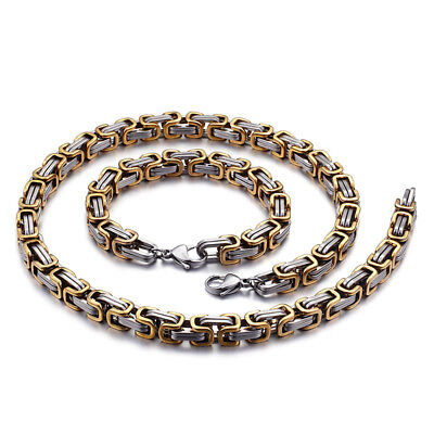 6//8mm Hot Men stainless steel Gold Silver Tone Byzantine Antiqued necklace chain