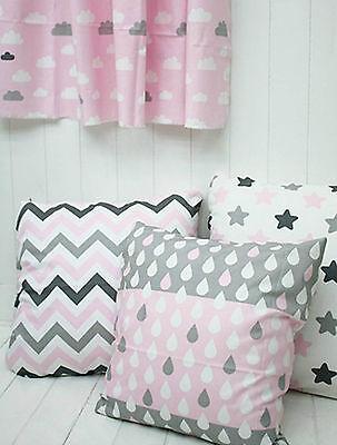 Misty Pink Grey 100% Cotton Fabric star cloud zigzag 152cm wide ffB236-239-