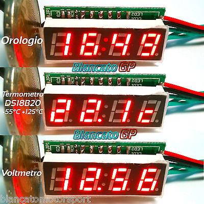 MICRO 3in1 VOLTMETRO TERMOMETRO OROLOGIO LED VERDE DS18B20 auto moto camper casa
