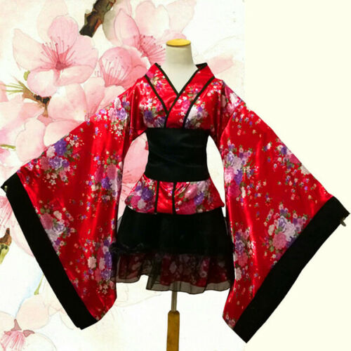 Lolita Anime Cosplay Cherry blossoms Sakura Kimono Japanese Costume Maid Dress