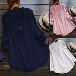 Women-V-Neck-Button-Shirt-Long-Sleeve-Chiffon-Loose-Tunic-Tops-T-Shirt-Blouse