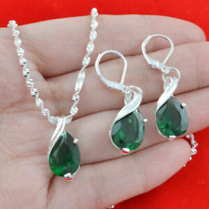 Chic-925-Silver-Emerald-Pendant-Women-Necklace-Drop-Earrings-Set-Jewelry-Fashion