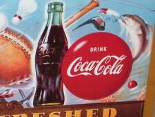 SPORTS BAR SIGN -- COCA-COLA Bottle -- COKE Button Bullseye -- OLD SIGN Dated'94