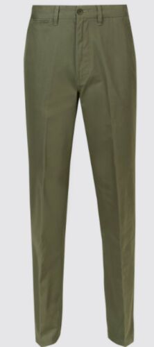 """MENS CHINO TROUSERS NEW M/&S STORMWEAR WASHED GREEN WAIST 50/"""" LENGTHS 29/"""" 31/"""" 33/"""""""