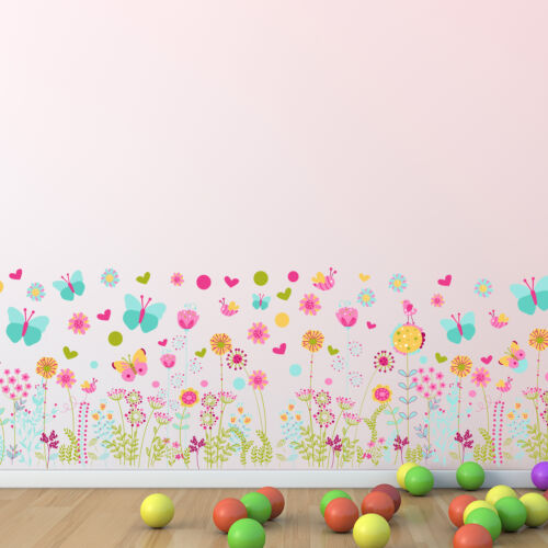 Nursery Room Wall Stickers Art Murals Colourful Butterflies and Flowers Skirting